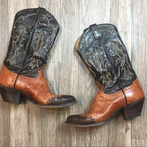 Vintage Tony Lama Western Cowboy Boots Size 9D